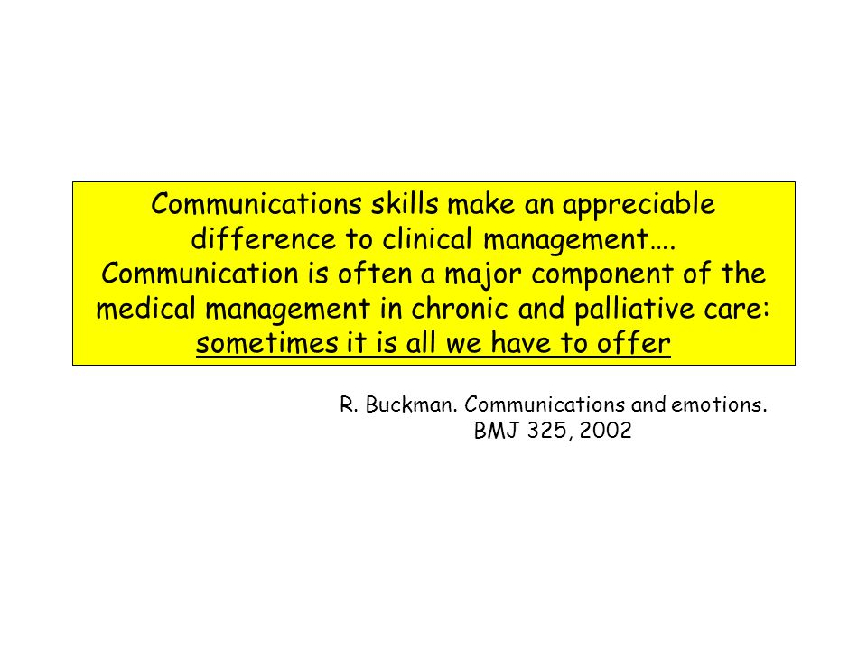 R. Buckman. Communications and emotions. BMJ 325, 2002