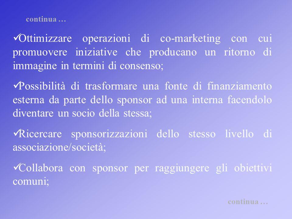 Collabora con sponsor per raggiungere gli obiettivi comuni;