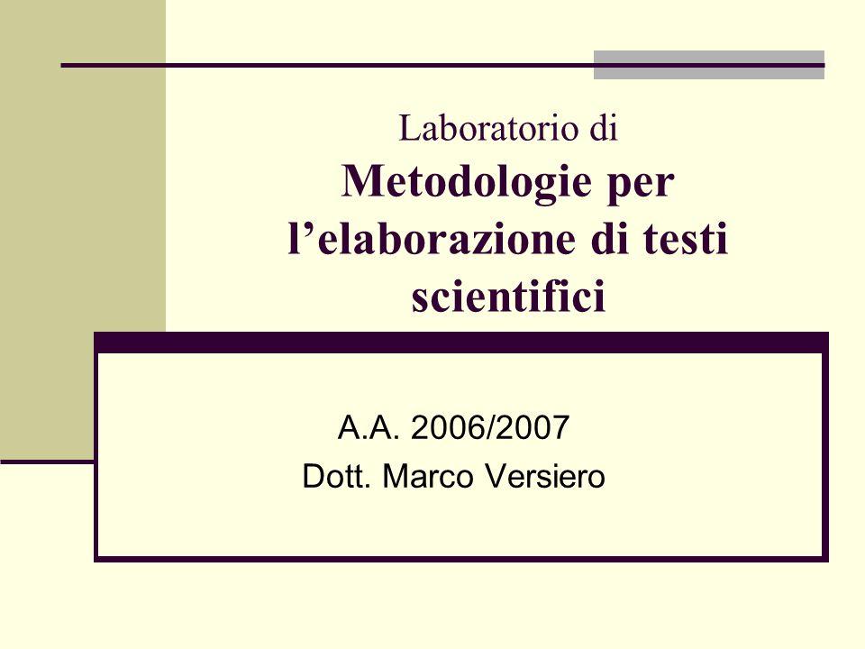 Laboratorio di Metodologie per l'elaborazione di testi scientifici