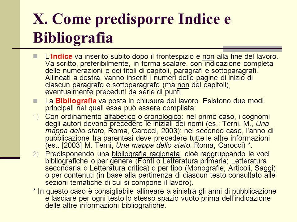 X. Come predisporre Indice e Bibliografia