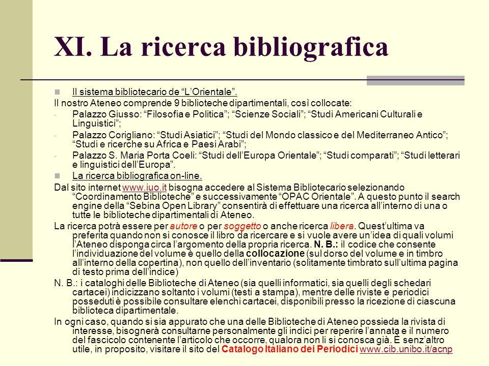 XI. La ricerca bibliografica