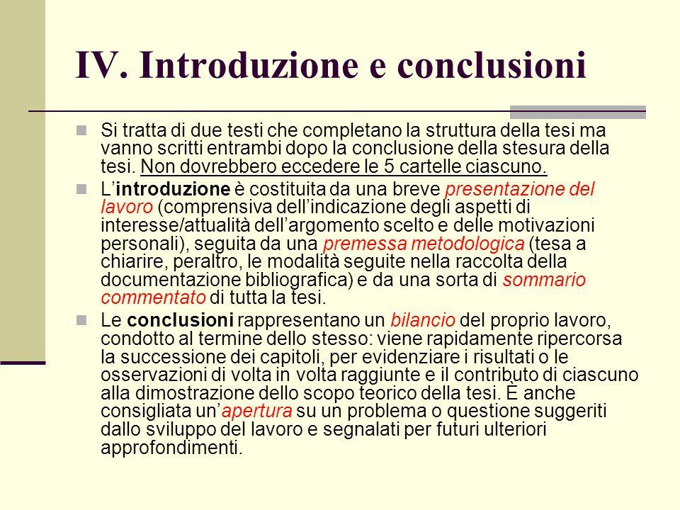 IV. Introduzione e conclusioni