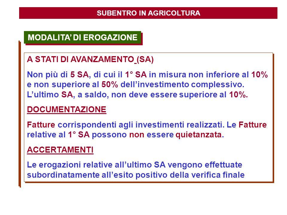 SUBENTRO IN AGRICOLTURA MODALITA' DI EROGAZIONE