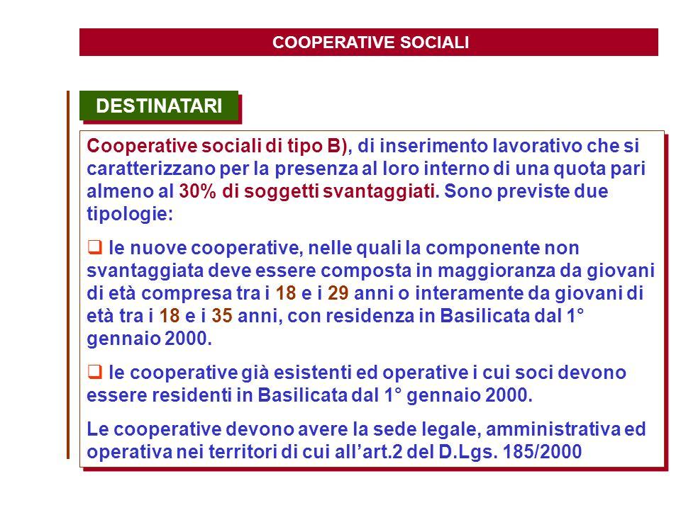 COOPERATIVE SOCIALI DESTINATARI.
