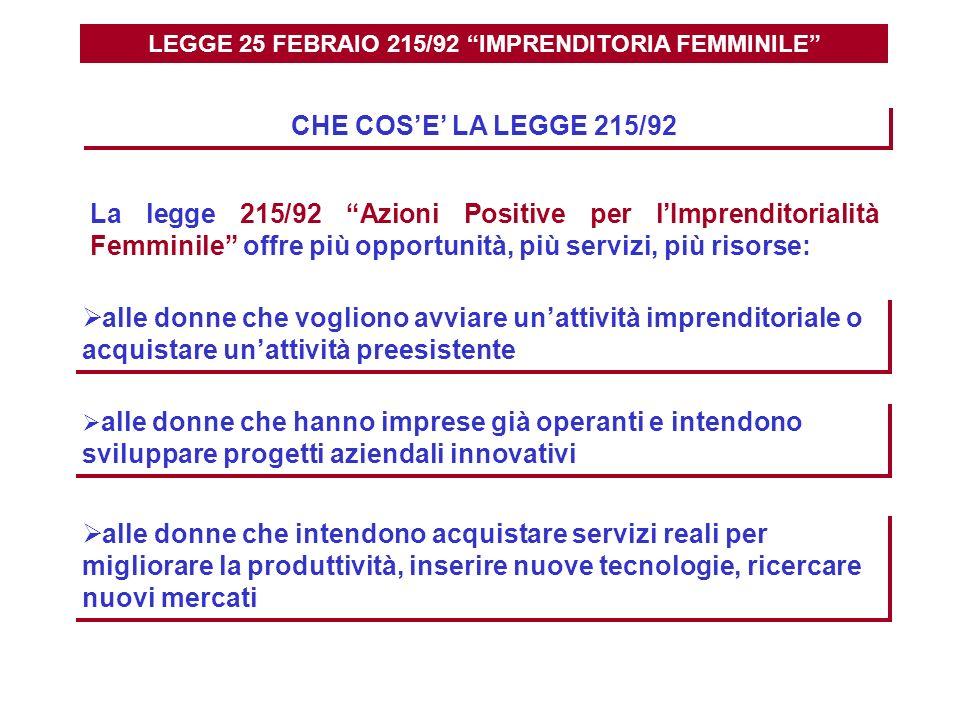 LEGGE 25 FEBRAIO 215/92 IMPRENDITORIA FEMMINILE