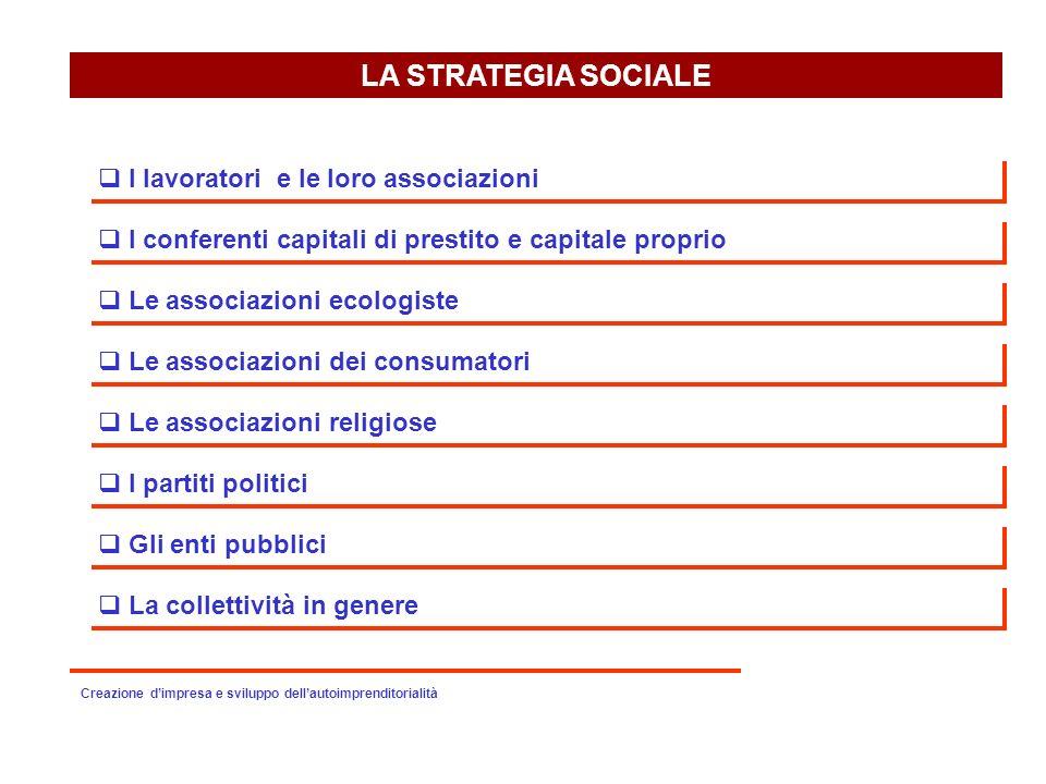LA STRATEGIA SOCIALE I lavoratori e le loro associazioni