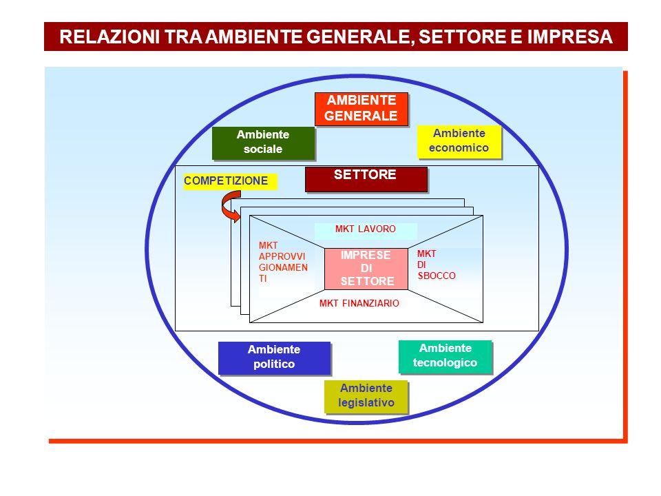 RELAZIONI TRA AMBIENTE GENERALE, SETTORE E IMPRESA