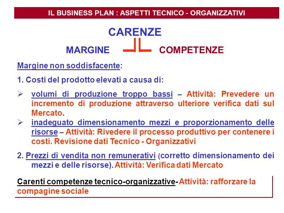 IL BUSINESS PLAN : ASPETTI TECNICO - ORGANIZZATIVI