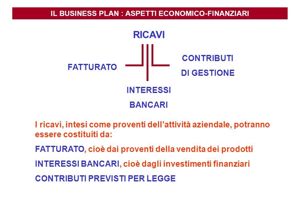 IL BUSINESS PLAN : ASPETTI ECONOMICO-FINANZIARI