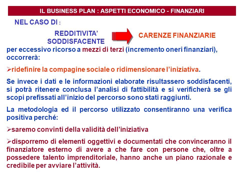 REDDITIVITA' SODDISFACENTE CARENZE FINANZIARIE
