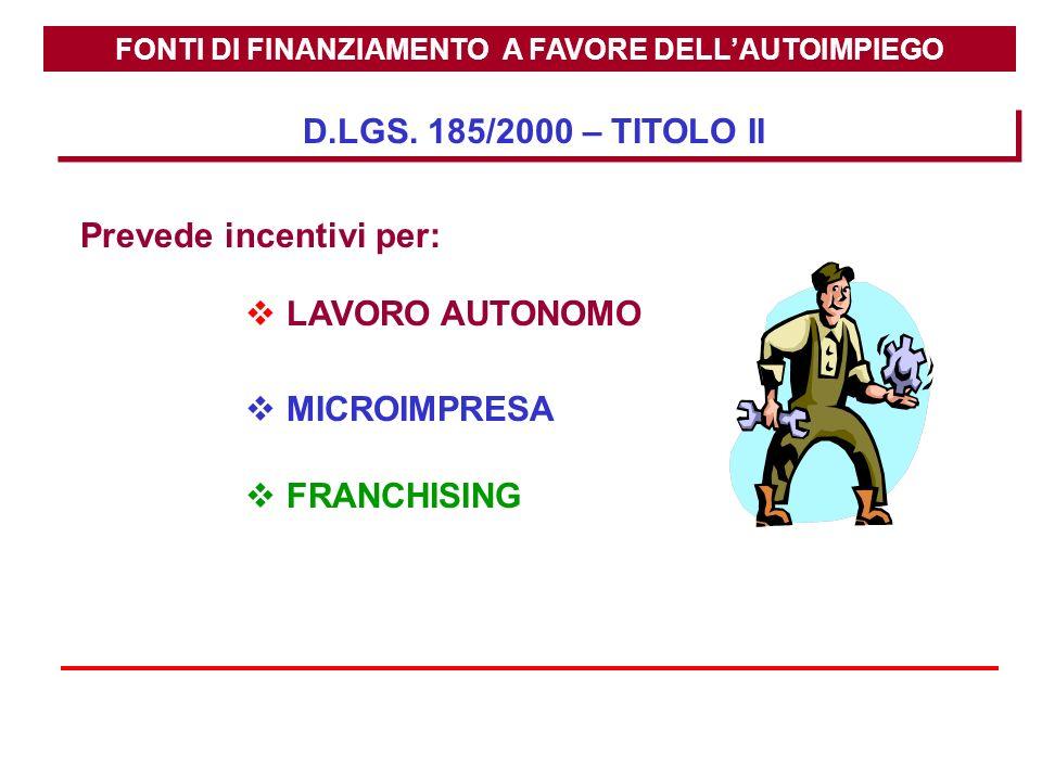 FONTI DI FINANZIAMENTO A FAVORE DELL'AUTOIMPIEGO