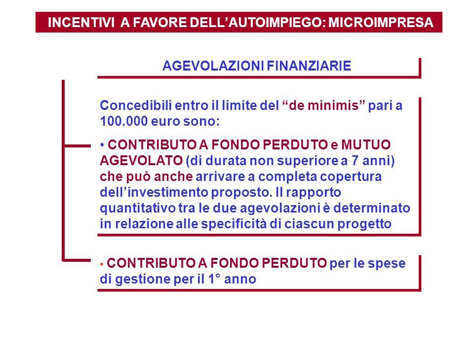 INCENTIVI A FAVORE DELL'AUTOIMPIEGO: MICROIMPRESA