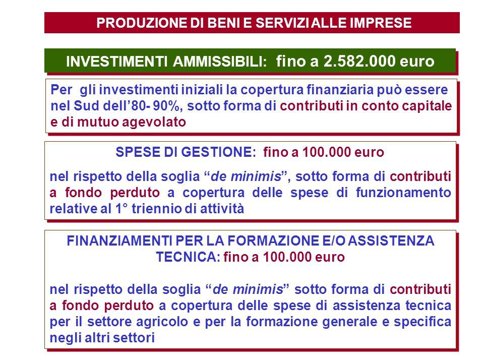 INVESTIMENTI AMMISSIBILI: fino a 2.582.000 euro