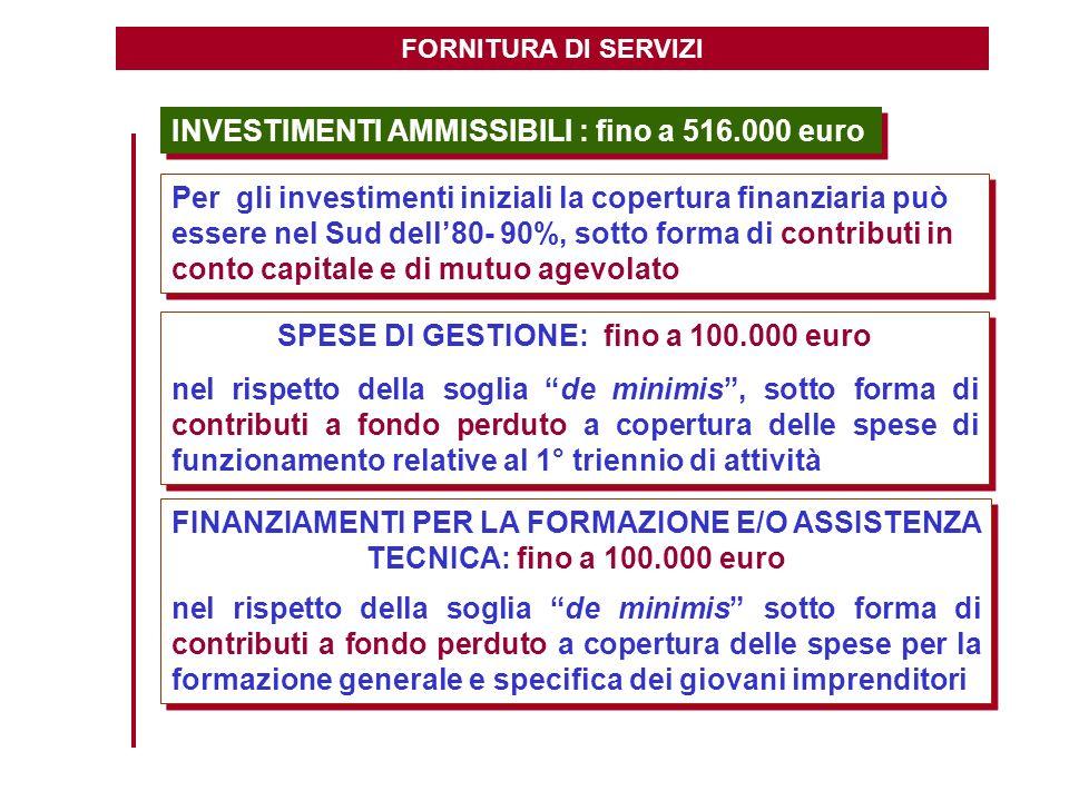 SPESE DI GESTIONE: fino a 100.000 euro