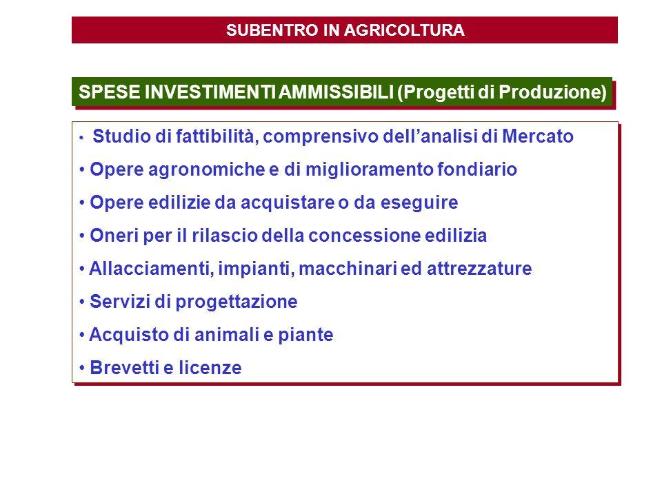 SUBENTRO IN AGRICOLTURA