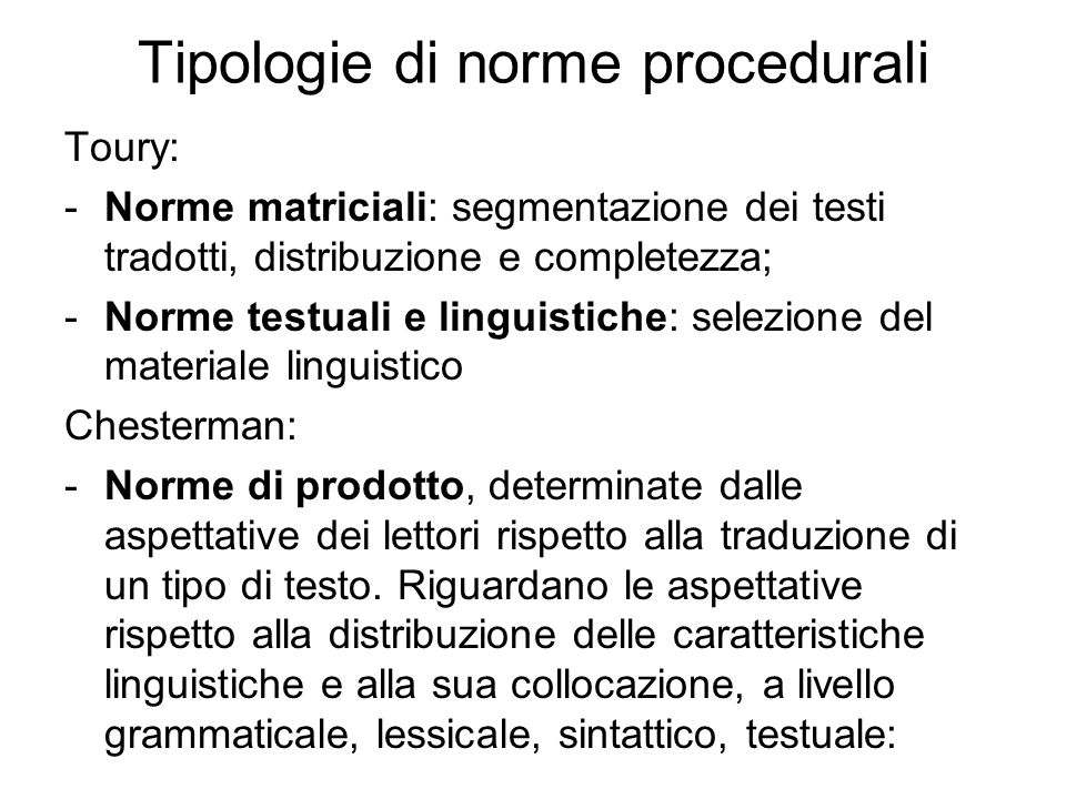 Tipologie di norme procedurali