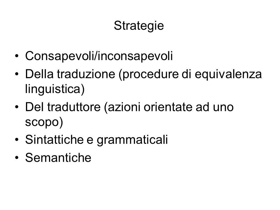 Strategie Consapevoli/inconsapevoli. Della traduzione (procedure di equivalenza linguistica) Del traduttore (azioni orientate ad uno scopo)