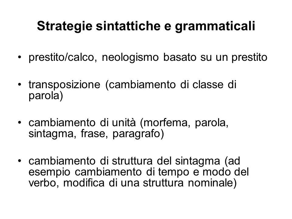 Strategie sintattiche e grammaticali