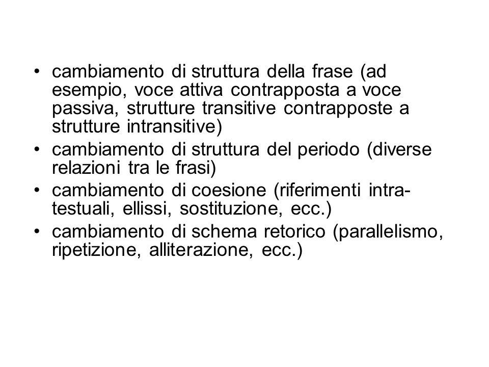 cambiamento di struttura della frase (ad esempio, voce attiva contrapposta a voce passiva, strutture transitive contrapposte a strutture intransitive)