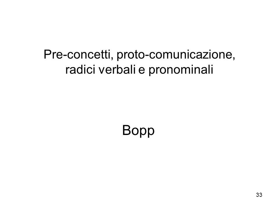 Pre-concetti, proto-comunicazione, radici verbali e pronominali