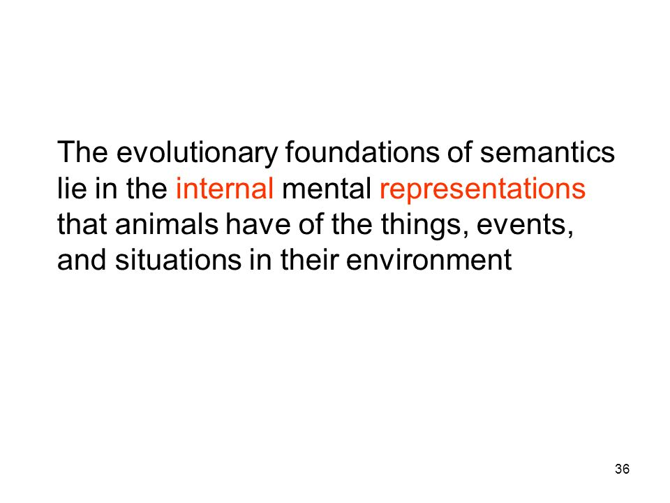 The evolutionary foundations of semantics lie in the internal mental representations that animals have of the things, events, and situations in their environment