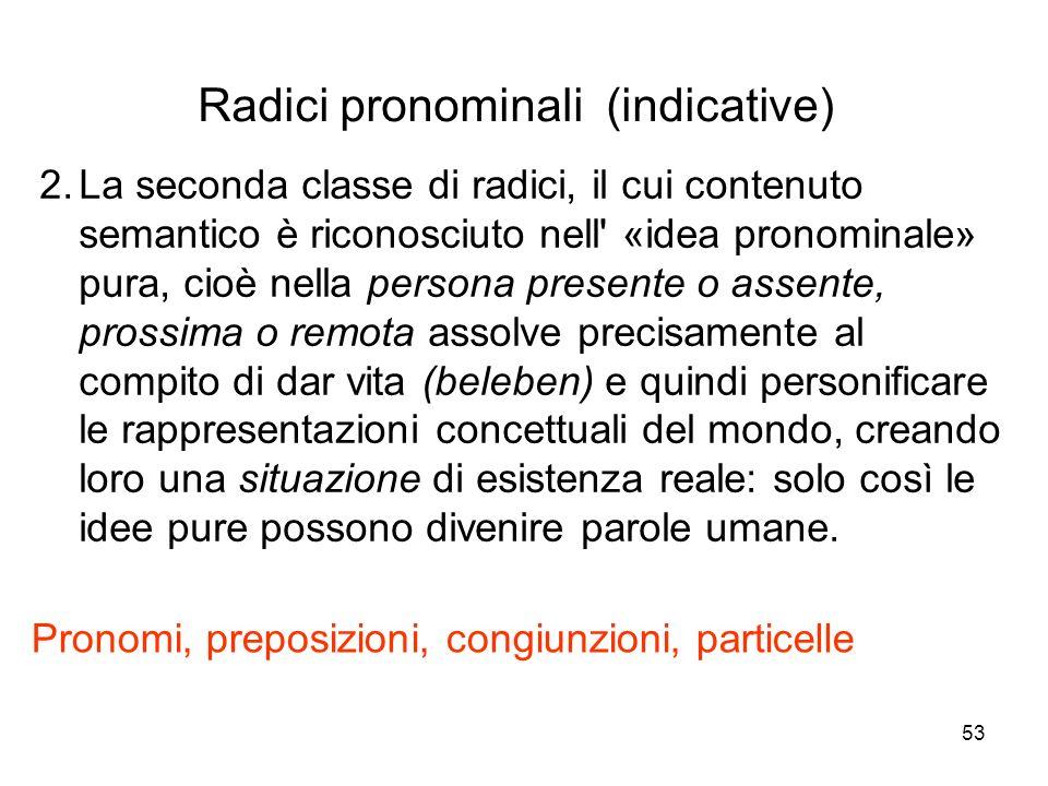 Radici pronominali (indicative)