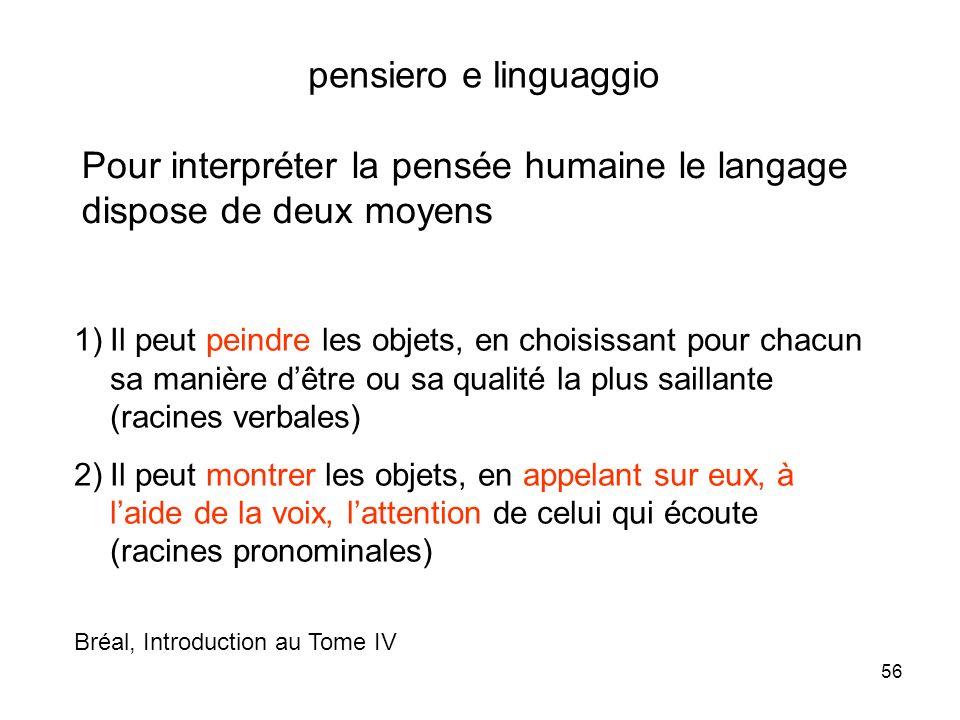 Pour interpréter la pensée humaine le langage dispose de deux moyens
