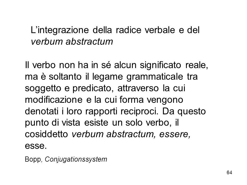 L'integrazione della radice verbale e del verbum abstractum