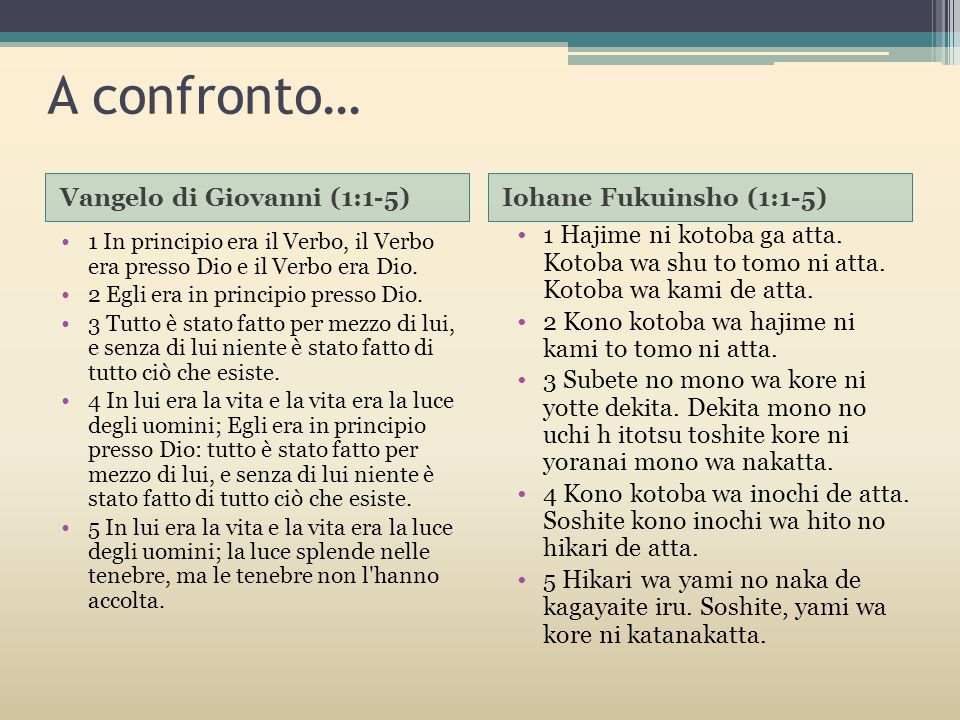 A confronto… Vangelo di Giovanni (1:1-5) Iohane Fukuinsho (1:1-5)