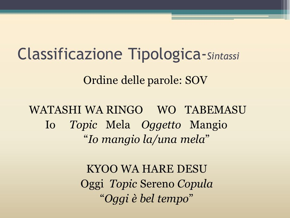 Classificazione Tipologica-Sintassi