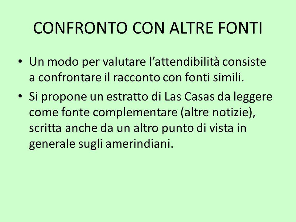 CONFRONTO CON ALTRE FONTI