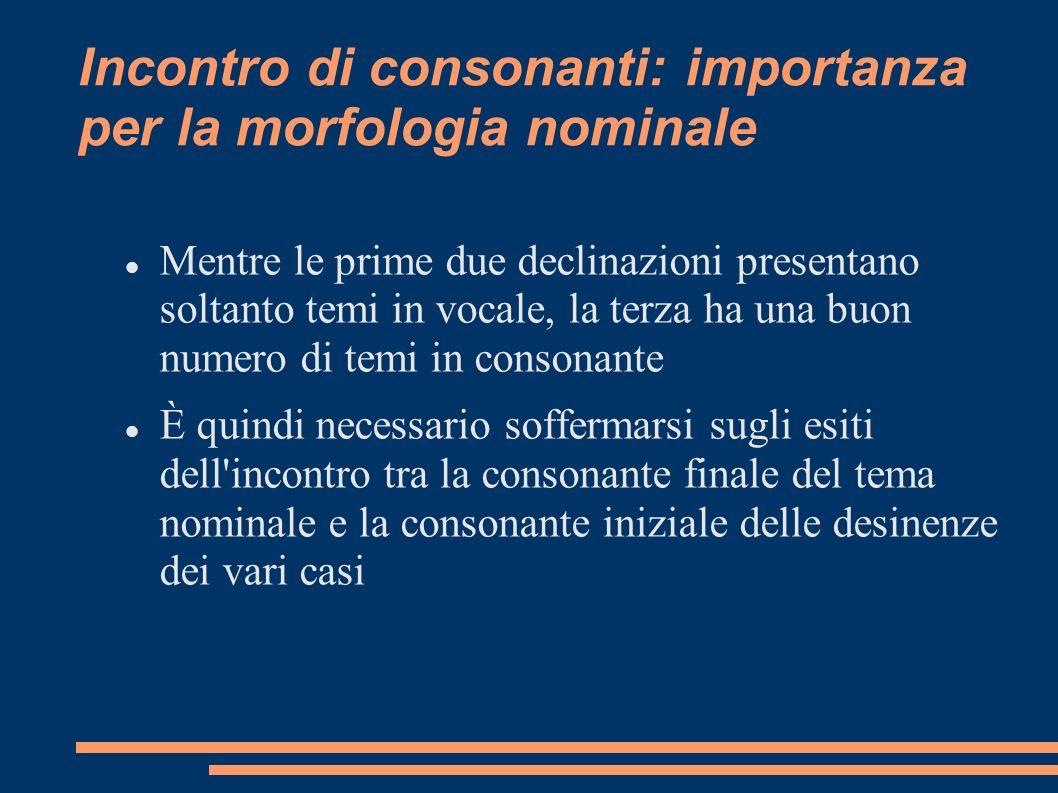 Incontro di consonanti: importanza per la morfologia nominale
