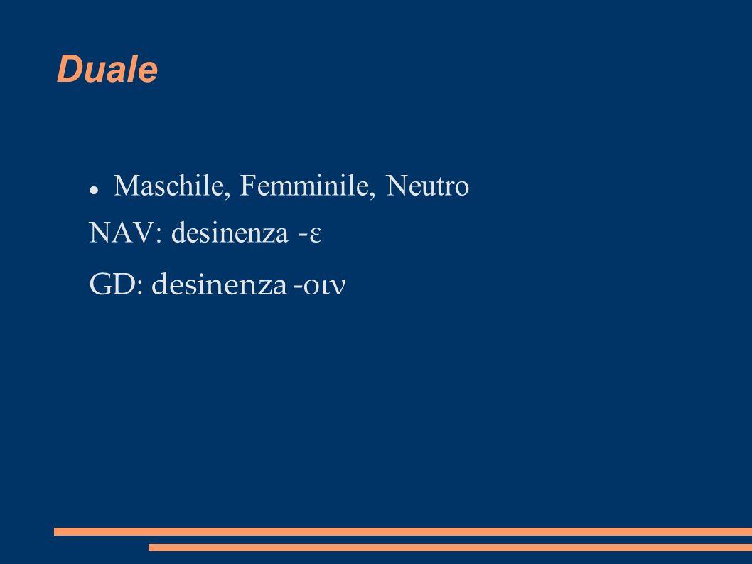 Duale Maschile, Femminile, Neutro NAV: desinenza -ε GD: desinenza -οιν
