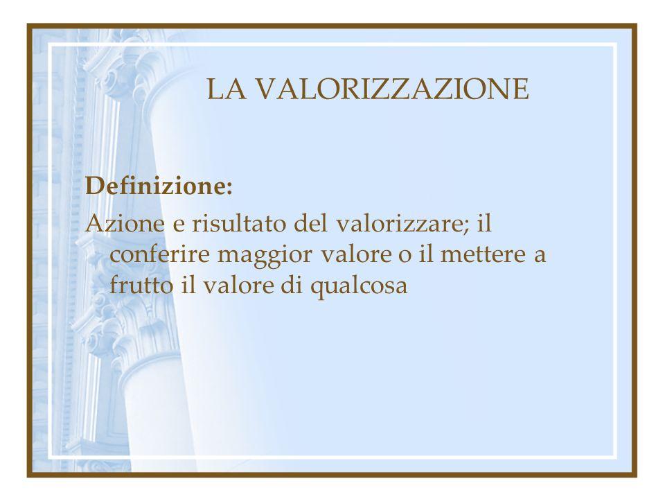 LA VALORIZZAZIONE Definizione:
