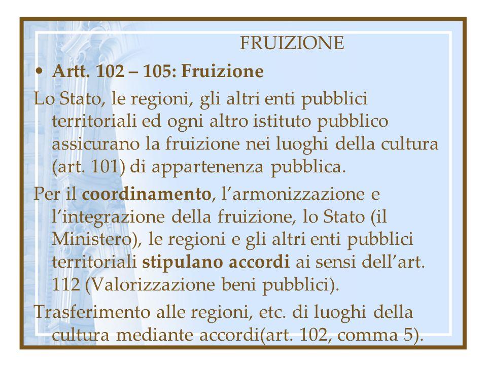 FRUIZIONE Artt. 102 – 105: Fruizione.