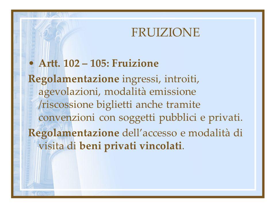 FRUIZIONE Artt. 102 – 105: Fruizione