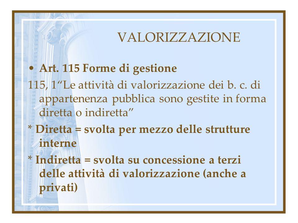 VALORIZZAZIONE Art. 115 Forme di gestione