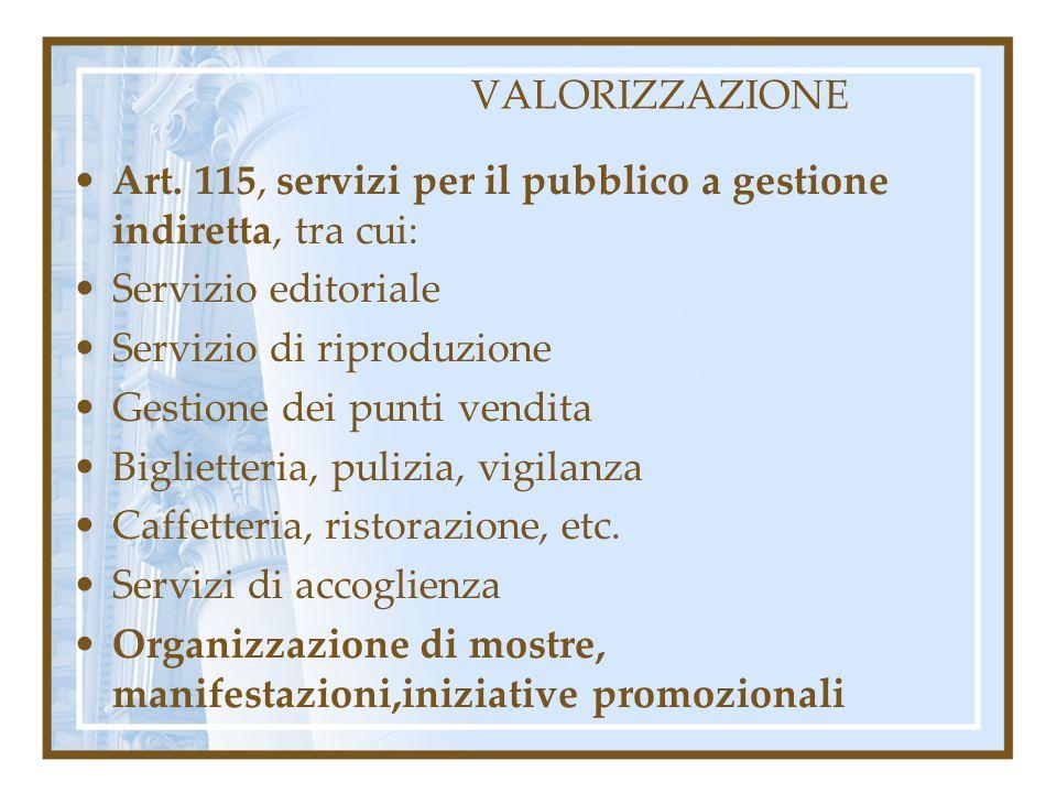 VALORIZZAZIONE Art. 115, servizi per il pubblico a gestione indiretta, tra cui: Servizio editoriale.