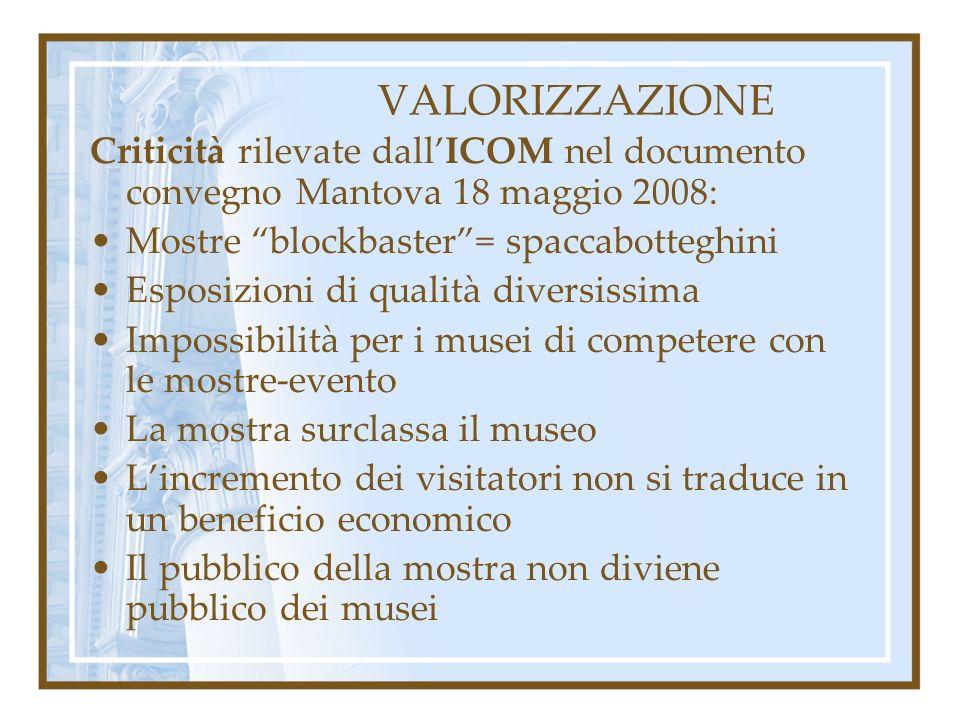 VALORIZZAZIONE Criticità rilevate dall'ICOM nel documento convegno Mantova 18 maggio 2008: Mostre blockbaster = spaccabotteghini.