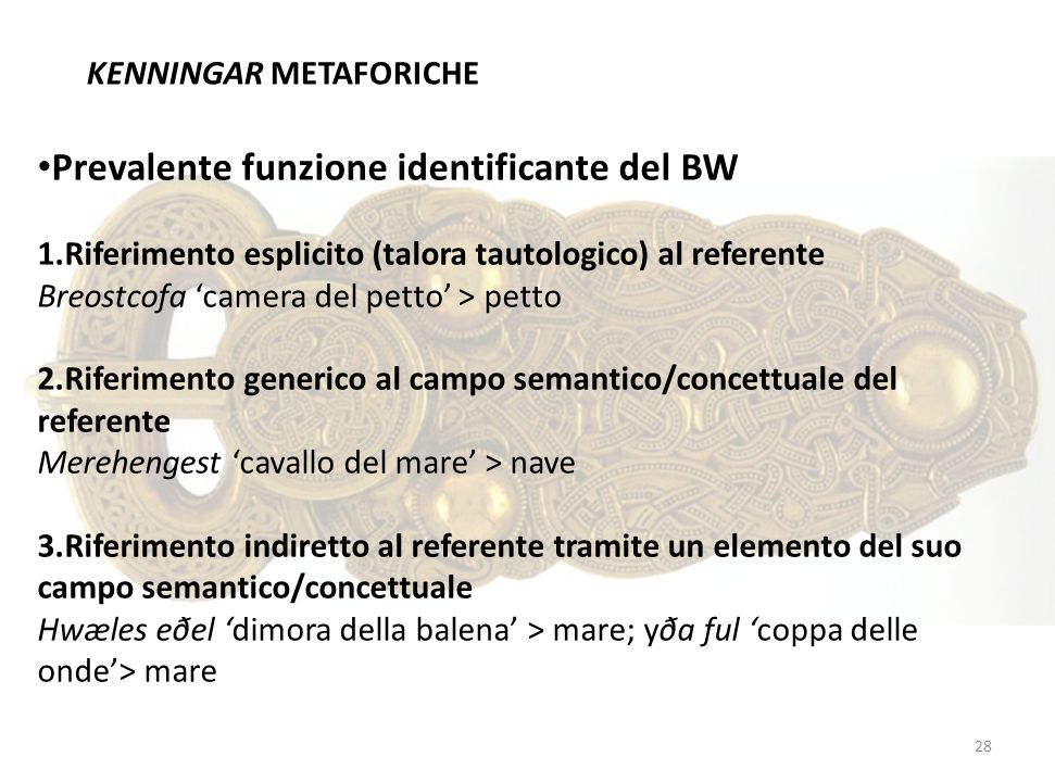 Prevalente funzione identificante del BW