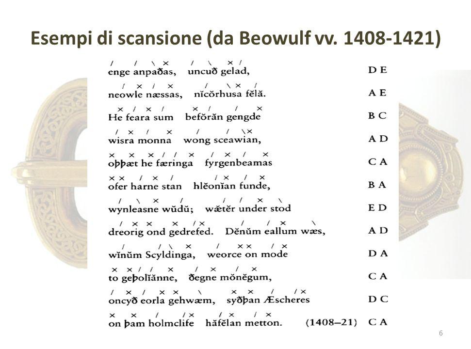 Esempi di scansione (da Beowulf vv. 1408-1421)