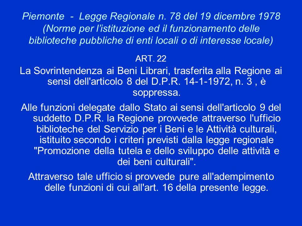 Piemonte - Legge Regionale n