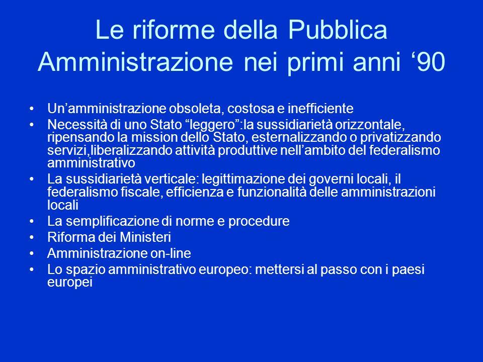 Le riforme della Pubblica Amministrazione nei primi anni '90