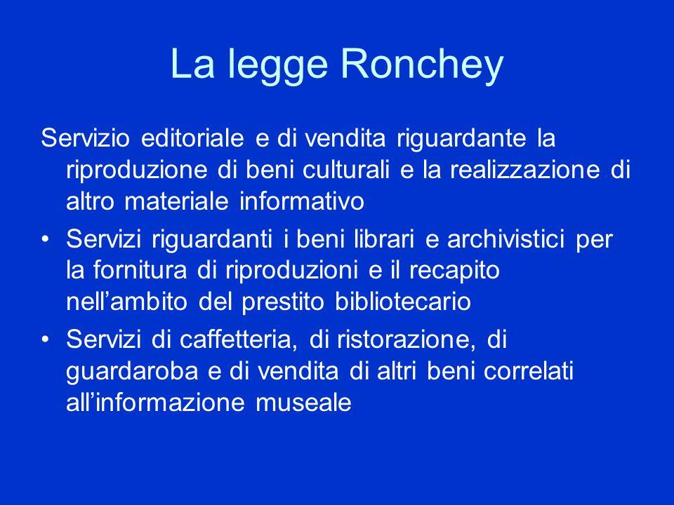 La legge Ronchey Servizio editoriale e di vendita riguardante la riproduzione di beni culturali e la realizzazione di altro materiale informativo.