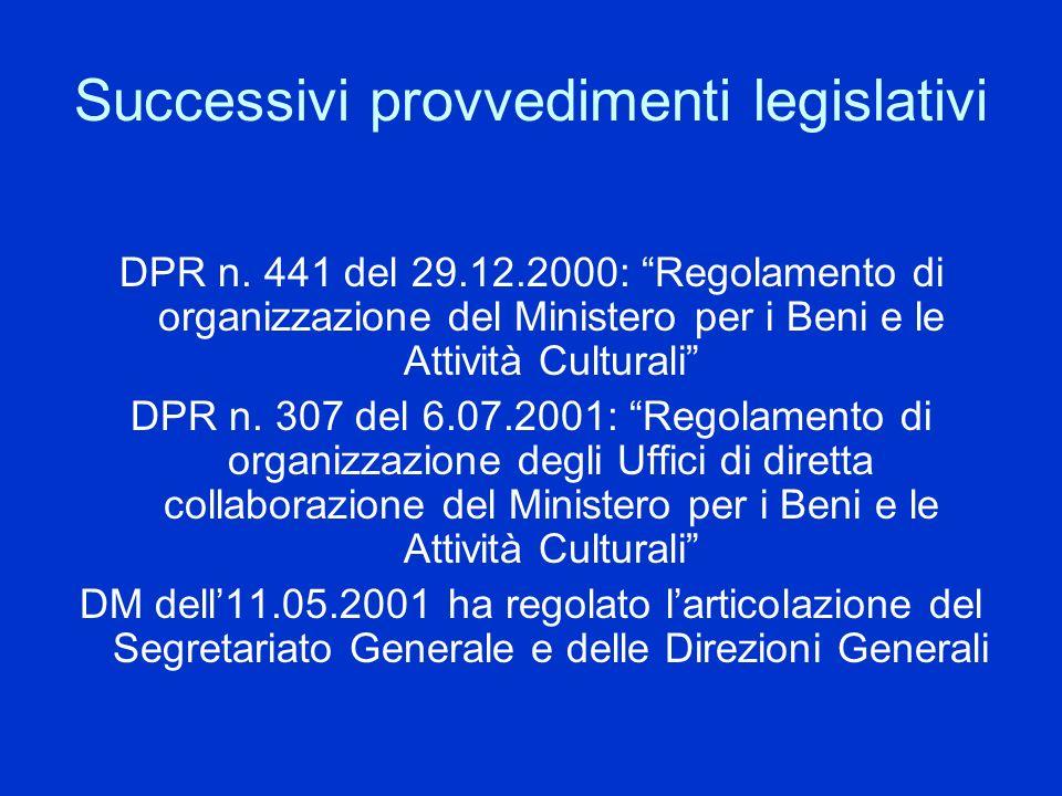 Successivi provvedimenti legislativi