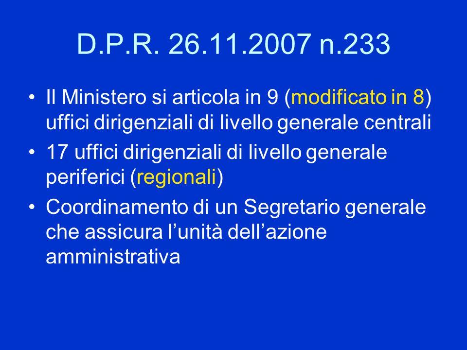 D.P.R. 26.11.2007 n.233 Il Ministero si articola in 9 (modificato in 8) uffici dirigenziali di livello generale centrali.