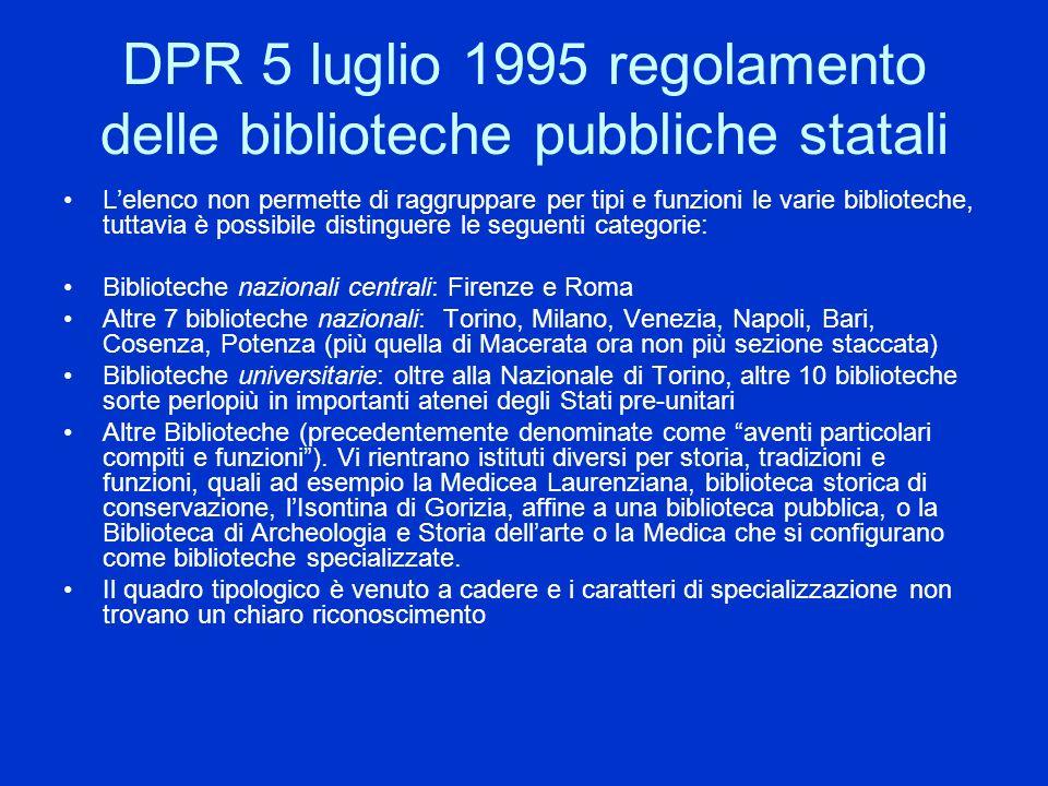 DPR 5 luglio 1995 regolamento delle biblioteche pubbliche statali