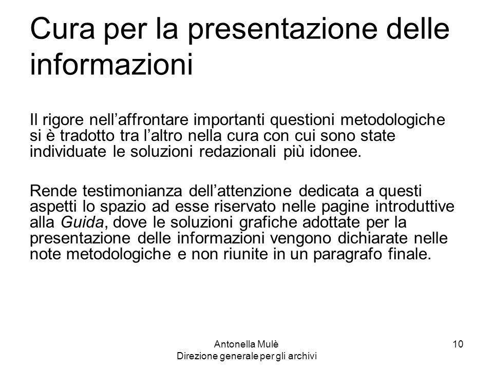 Cura per la presentazione delle informazioni