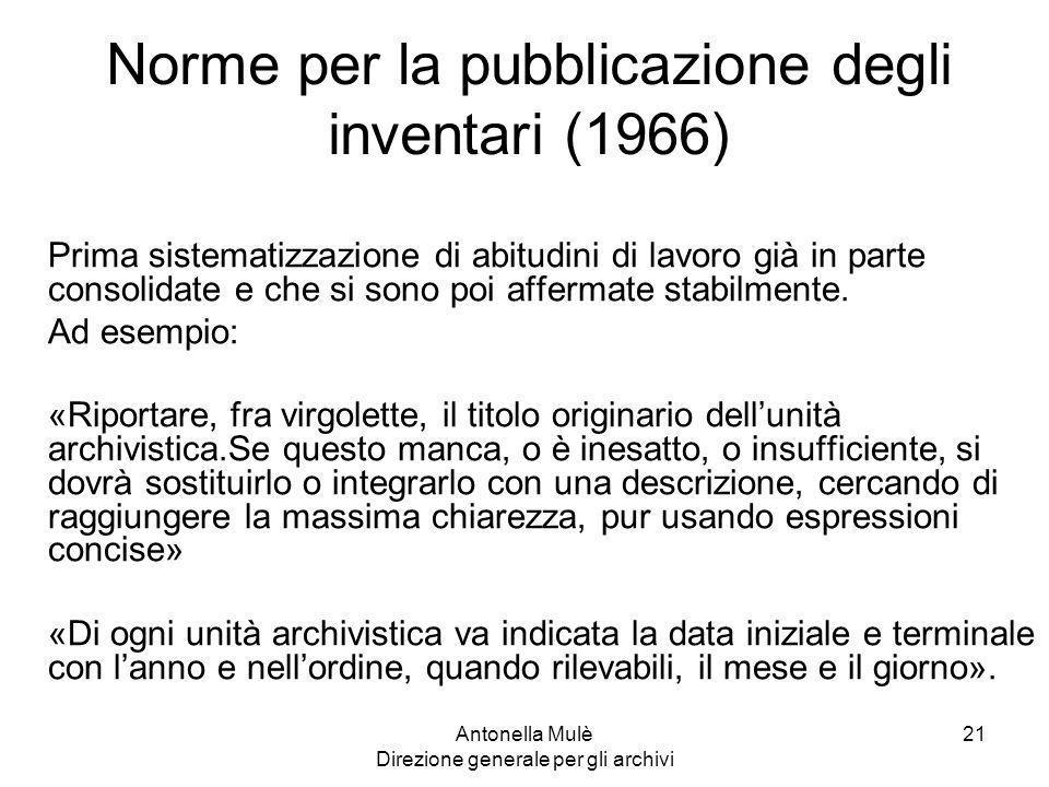 Norme per la pubblicazione degli inventari (1966)