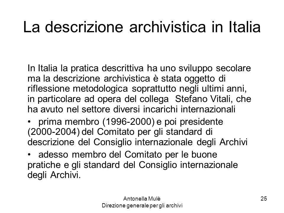 La descrizione archivistica in Italia